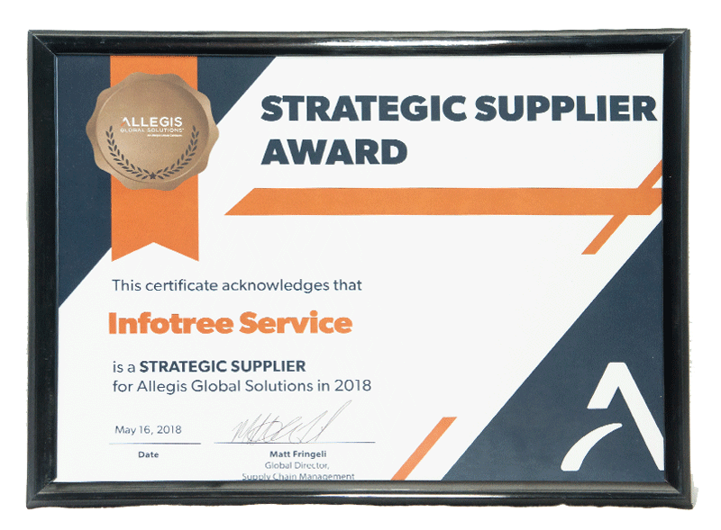 Infotree Global Strategic Supplier Award